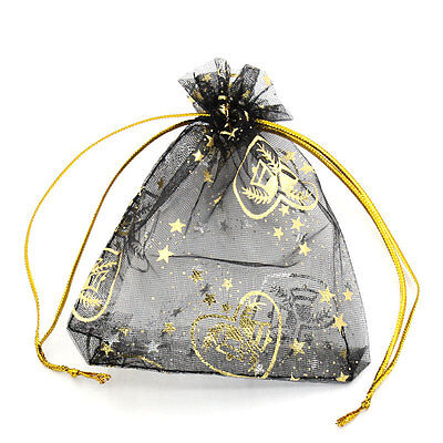50PCs 9.5x11.5cm Premium Organza Wedding Gift Bags Jewelry Pouches Black Candy