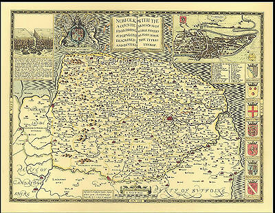 Norfolk NORWICH c.1610 Historic Hand Coloured John Speed Replica Old County Map