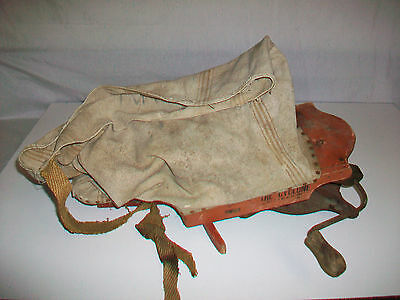 Vintage The Cyclone Hand Crank Seed Spreader Sower Canvas Wood & Metal
