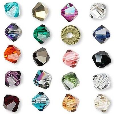 6 Swarovski Crystal 4mm Xilion Faceted Bicone Double Cone Beads W/ Facets A-K