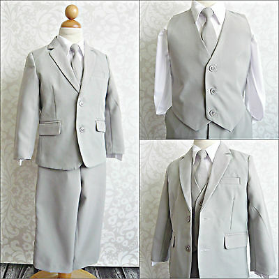 LTF Silver/light grey toddler youth wedding party boy tuxedo formal dress suit
