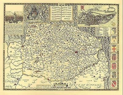 Norfolk NORWICH HISTORIC 1610 Hand Coloured John Speed Replica Old County Map