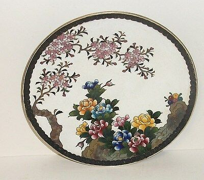 """Inaba Cloisonne White Enamel Floral Blossom 7""""1/4 Plate Signed"""