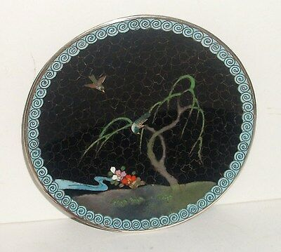 """Inaba Cloisonne Black Enamel Floral Birds In A Tree 4""""3/4 Plate Signed"""