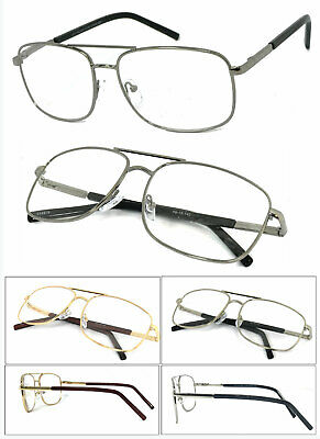 Premium Quality Metal Frame Aviator Clear Lens Reading Glasses Spring Hinge RE44