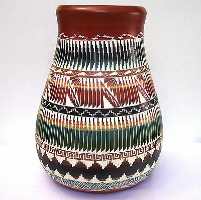 "Large Hand Etched Navajo Pottery Vase, Signed - 14""H x 10W"