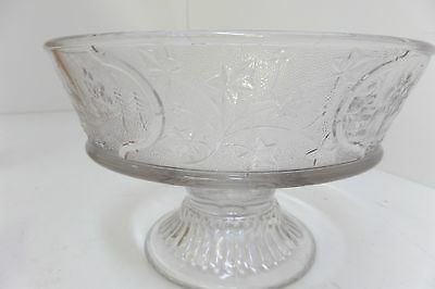 """Canadian Clear EAPG Pattern Glass Compote Country Cottage Lake w/Ivy 8"""" diameter"""