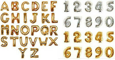 """1pcs18""""Gold,Silver Foil Letter Number Balloons Birthday Wedding Party Decoration"""
