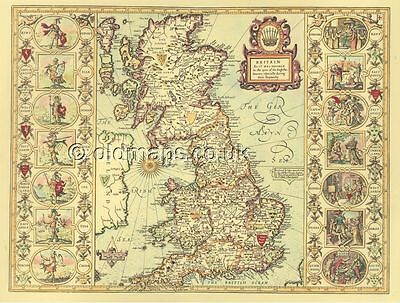 Saxon Heptarchy Replica Giclée HISTORIC PRINTED J Speed 17c. Old Map Britain