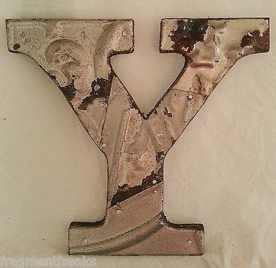 "Antique Tin Ceiling Wrapped 8"" Letter ""Y"" Patchwork Metal Mosaic Silver"