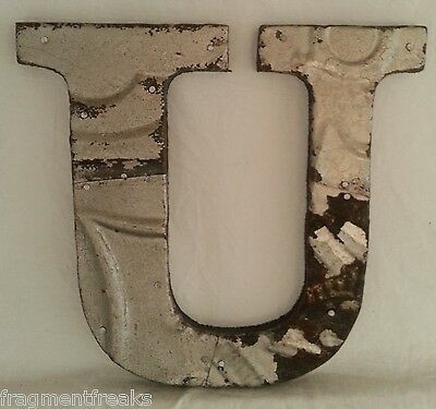 "Antique Tin Ceiling Wrapped 8"" Letter 'U' Patchwork Metal Mosaic Silver"