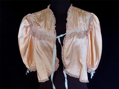 Very Rare Vintage 1940's Peach Silk Satin Bed Jacket With Lace Trim Size 36