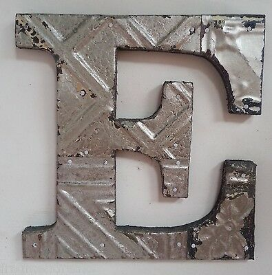 """Antique Tin Ceiling Wrapped 8"""" Letter 'E' Patchwork Metal Mosaic Silver"""