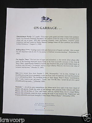 Garbage—1996 Press Release