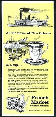 1962 French Market New Orleans coffee and chicory vintage print ad