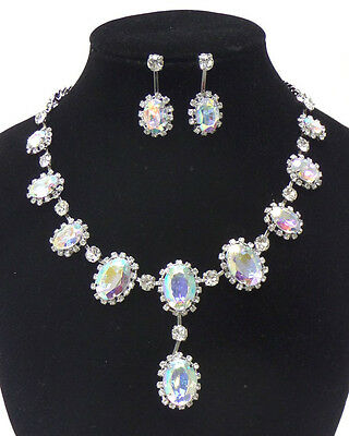 NEW SILVER AB GLASS CRYSTAL RHINESTONE CIRCLE DROP NECKLACE EARRING JEWELRY SET