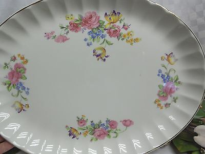 W.S George, China Dinnerware Pattern GEO505 Pink Rose oval serving platter