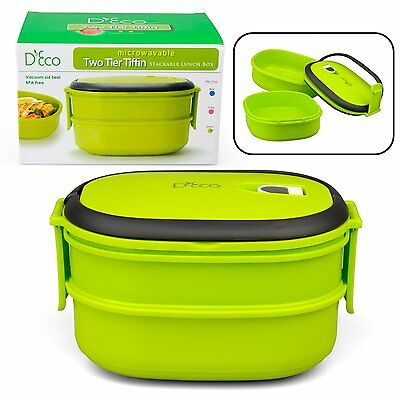 Microwavable Lunch Box- Stacking Two Tier Tiffin with Vacuum Seal Lid (Green)