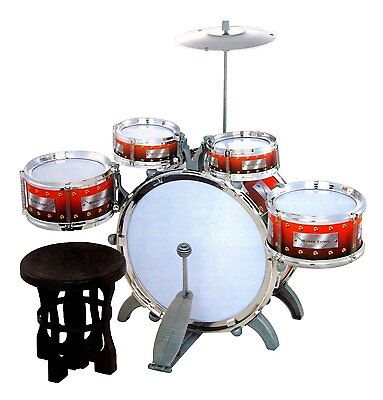 Jazz Drum Set with Chair - Music Toy Instrument for Kids (10 Pc), New
