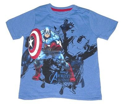 Boys t-shirt top Avengers Captain America official 4 5 6 7 8 9 10 11 & 12 years