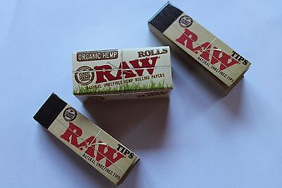 RAW ORGANIC HEMP ROLL 16.4' of 1.25 NATURAL ROLLING PAPER + 100 Unbleached TIPS