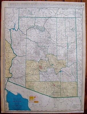1944 Vintage ARIZONA Map with RAILROADS Original Map of Arizona RARE SIZE