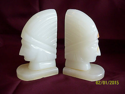Beautiful Pair of Indian Head Bookends~Onyx Stone~Handcrafted in Mexico
