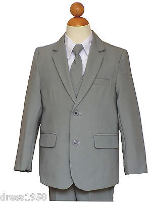 Boys Teen Graduation, Recital, Rang Bearer Light Gray/White Suit, Sz:2T to16