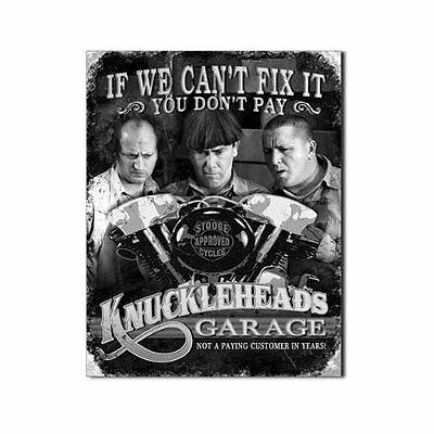 Three Stooges Tin Metal Sign : Knuckleheads Garage , 16x13, New, Free Shipping