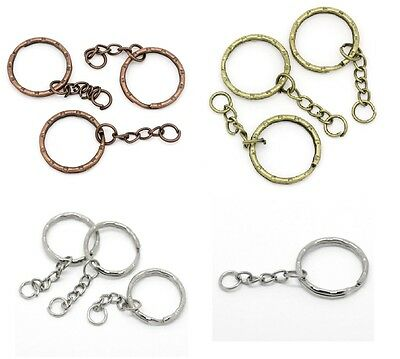 Keyring Blanks with Chains - Bronze Copper Silver Tones - Packs of 10 20 or 50