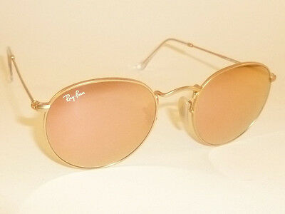 pink ray ban sunglasses bfq0  New RAY BAN Sunglasses ROUND METAL Matte Gold RB 3447 112/Z2 Pink Mirror  Lenses