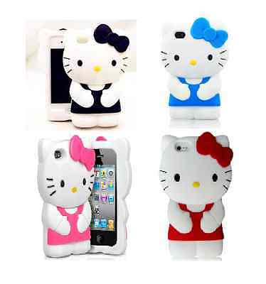 3D CUTE HELLO KITTY SOFT SILICONE CASE IPHONE 5 5S Pink Red Blue Black