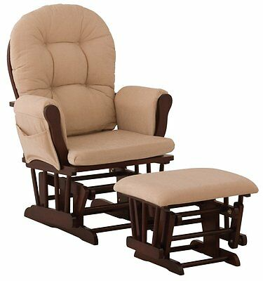 Stork Craft Hoop Glider and Ottoman Set, Cherry/Beige, New, Free Shipping