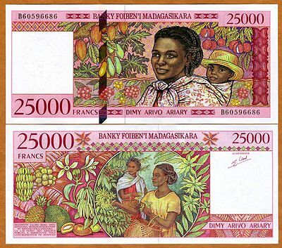 Madagascar, 25000 (25,000) Francs ND (1998), P-82, UNC > Mother with a child