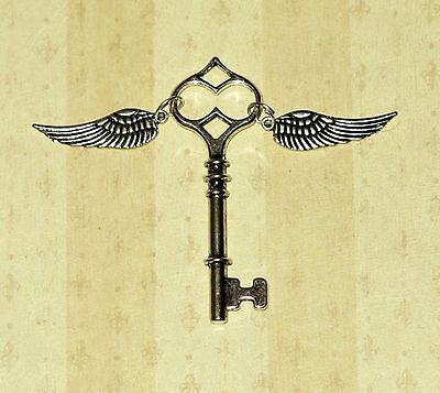 Winged Skeleton Key With Wings Harry Potter Themed Party Favor Necklace Pendant