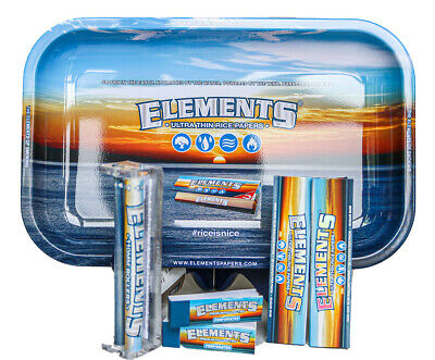 Elements Rolling Paper Combo Tray+Papers+Tips+Rolling Machine+Lighter