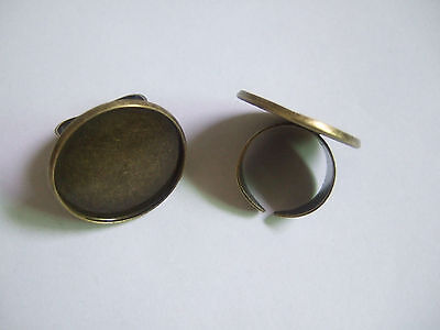 Lot of 5-25pcs Antique Bronze Metal Blank Ring Base Settings for 25mm Cabochon