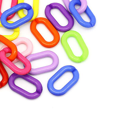 400PCs Acrylic Oval Chain Link Connectors Jewelry DIY Mixed 27mmx16mm