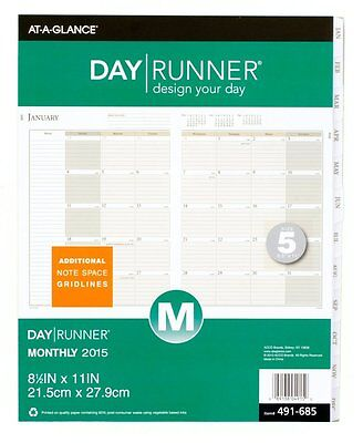 Day Runner Monthly Tabbed Planner Refill 2015, 8.5 x 11 Inch Page Size, Size 5