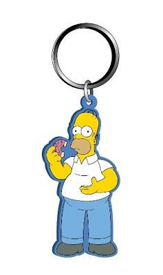 The Simpsons Homer Simpson Eating A Donut PVC Figural Soft Keychain, NEW UNUSED