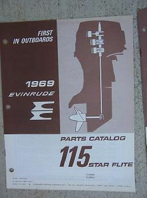 1969 Evinrude Outboard Motor Parts Catalog 115 HP Starflite 115983A 115983S   L