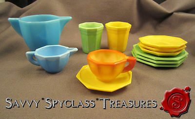 Mixed Lot Akro Agate Child's Toy Dishes Slag Glass