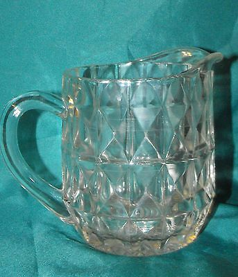 Vintage Clear Glass Pitcher with Diamond Shaped Sides