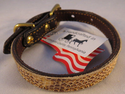 LEATHER COLLAR Faux Snakeskin Dog Cat Small Pet Amish Handmade Quality Snake
