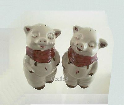Smiley Pig Salt And Pepper Shakers Ceramic 5 Inches - Ships Free