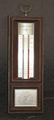 Vintage Springfield Indoor Outdoor Thermometer & Humidity Wall Plaque Made in US