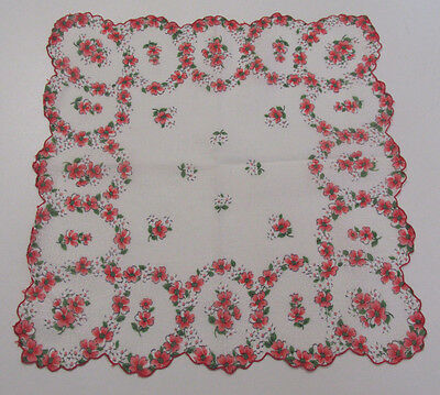 VINTAGE 1950s HANDKERCHIEF FLOWERS SPIDER WEBS RED WHITE GREEN PEACH