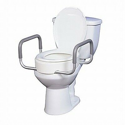 Elevated Raised Toilet Seat Riser with Removable Arms, For Enlongated Toilets