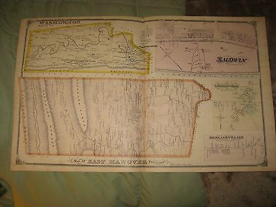 ANTIQUE 1875 WASHINGTON EAST HANOVER TOWNSHIP DAUPHIN COUNTY PENNSYLVANIA MAP NR