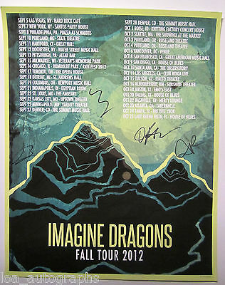 IMAGINE DRAGONS hand SIGNED autographed 2012 16x20 tour poster by all 4 #1117